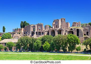 Circus Maximus. Ruins of Palatine hill, Rome, Italy.
