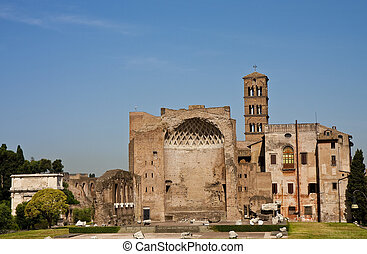 The ancient ruins of circus maximus in rome italy