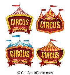 circus, meldingsbord, set, vector., nacht, carnaval, teken., circustent, poster., carnaval, gloeilamp, frame., plat, vrijstaand, illustratie