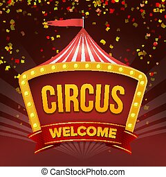 circus, meldingsbord, vector., retro, uitnodiging, event., plat, illustratie