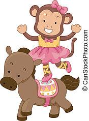 Circus Monkey Balancing on a Horse - Cartoon Illustration of...