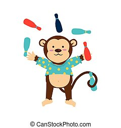 Circus monkey cartoon Royalty Free Vector Image