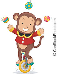 Cartoon Illustration of a Circus Monkey riding a Monocycle while juggling balls