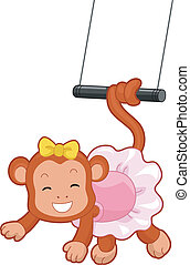 Circus Monkey Trapeze - Cartoon Illustration of a Circus...