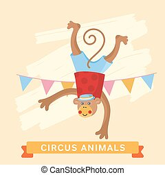 Circus Monkey, vector animal series.