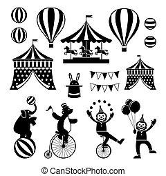 Circus Objects Icons Mono Set - Amusement Park, Theme Park,...