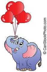circus olifant, met, ballons, 2