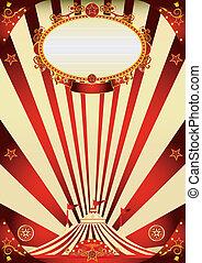 circus, ouderwetse , rood, en, room, poster