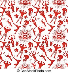 Circus Pattern - Circus Starr getting showered ,vintage...