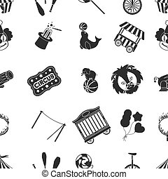 Circus pattern icons in black style. Big collection of circus vector symbol stock illustration