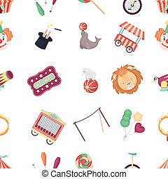 Circus pattern icons in cartoon style. Big collection of circus vector illustration symbol.
