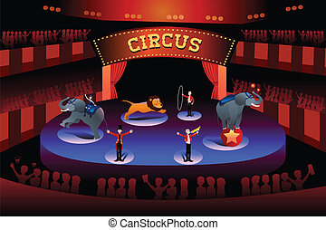 A vector illustration of circus performance