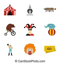 Circus performance icons set, flat style