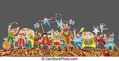 Circus Performance Parade Crowd - The big circus...