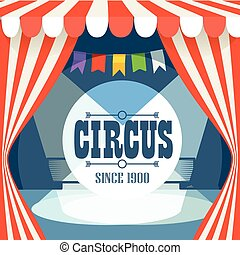 Circus postcard template. Design elements