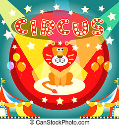 circus poster - Lion on the circus arena poster vector...