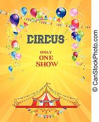circus, poster, op, gele achtergrond