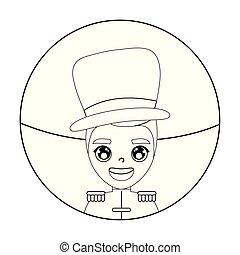 circus presenter male in frame circular