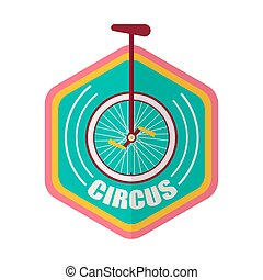 Circus promotional emblem with unicycle inside geometric shape