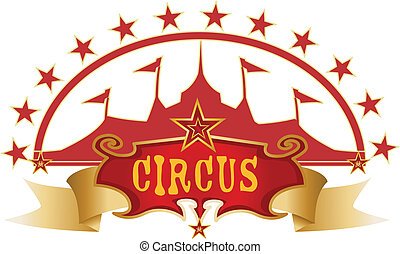 circus red design - A circus big top with a red ribbon