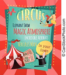 Circus retro poster with elephant show magic atmosphere...