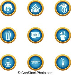 Circus reveal icons set, flat style