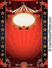 circus, rood, en, nacht, fantastisch, poster