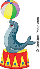 Circus seal cartoon playing a ball
