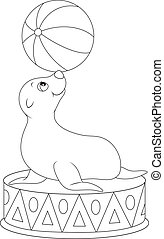 Seal balancing a big ball in a circus performance, black and white outline vector illustration for a coloring book