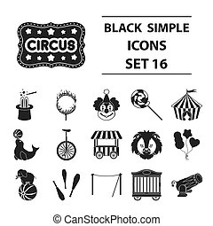 Circus set icons in black style. Big collection circus...