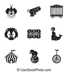 Circus set icons in black style. Big collection of circus bitmap, raster symbol stock illustration
