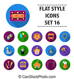 Circus set icons in flat style. Big collection circus...
