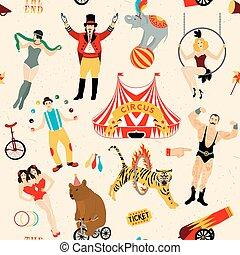 Circus set. Illustration of circus stars. - Seamless Circus...