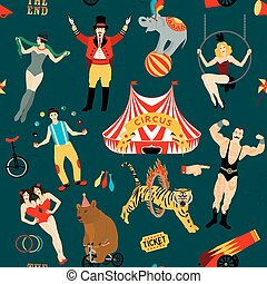 Circus set. Illustration of circus stars. - Seamless Circus...