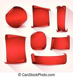 circus, set, perkament, rood, boekrol