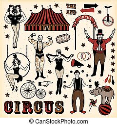 Circus set. Vintage Circus Set. Vector illustration. Illustration of circus stars.