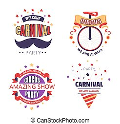 Circus show and carnival party isolated icons fair ground