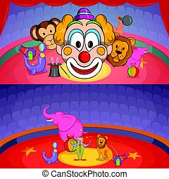 Circus show banner set horizontal, cartoon style