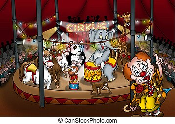 Circus Show - Cartoon Illustration, Bitmap