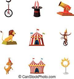Circus show icons set, cartoon style