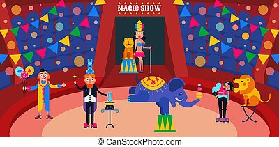 Circus show vector illustration. Circus artists performers at arena trainer, magician with hares, assistant, clown. Wild animals lion, tiger, elephant.