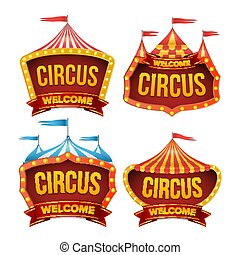 Circus Sign Set Vector. Night Carnival Sign. Circus Tent Poster. Carnival Light Bulb Frame. Flat Isolated Illustration