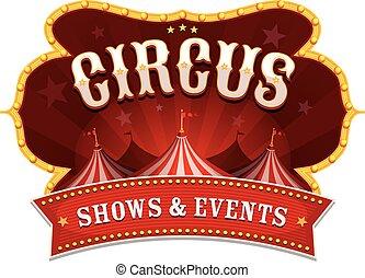 circus, spandoek, met, groot bovenst