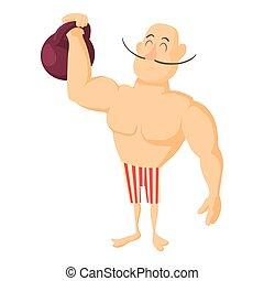Circus strong man icon, cartoon style