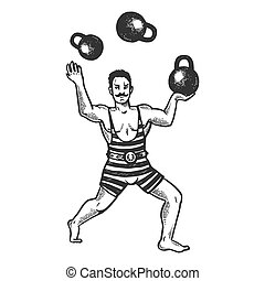 Circus strongman juggles with weights engraving vector...