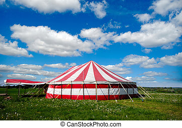 Circus tent - A red and white striped circus tent in green...