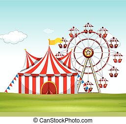 Circus tent and ferris wheel on the ground