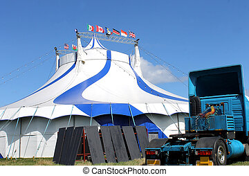 Circus tent and truck