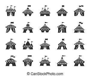 Circus tent black glyph icons vector set
