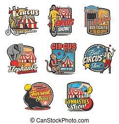 Circus tent, clown, acrobat, animal retro icons